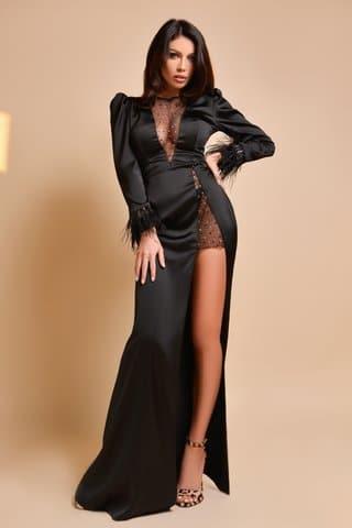 Rochie lunga saten negru cu fulgi si cristale