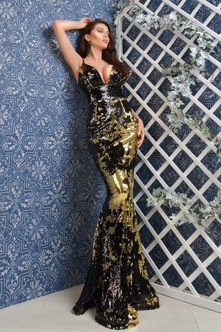 Rochie lunga din paiete cameleon