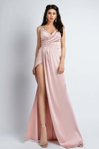 Rochie de lux satinata rose Atmosphere