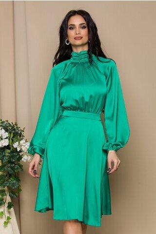 Rochie LaDonna verde guler incretit
