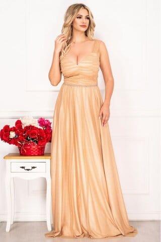Rochie Xara lunga nude eleganta cu sclipici